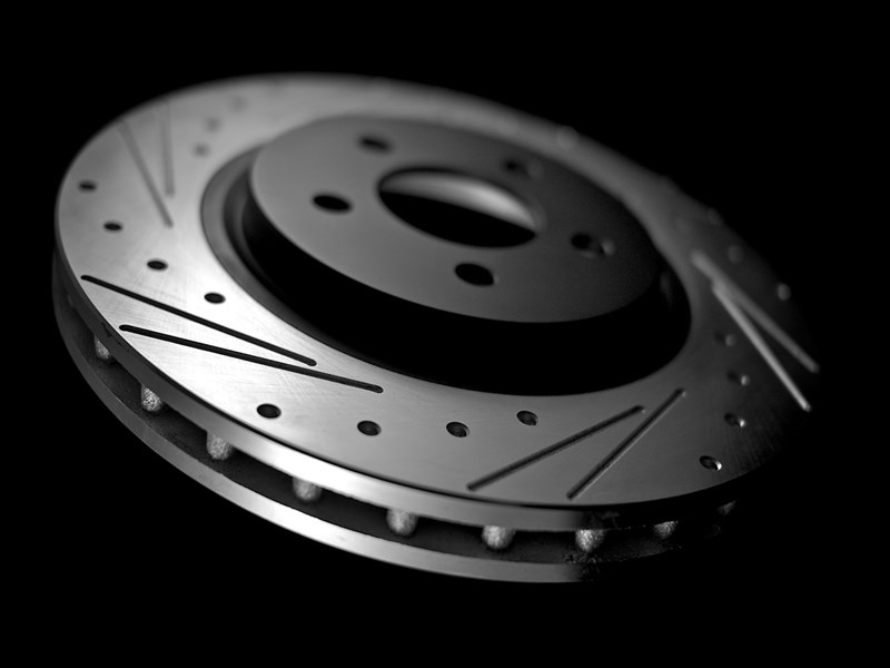 track: dimpled and slotted performance rotors. race rotors with double slotting and dimpling