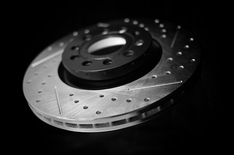 slotted and double dimpled brake rotors. dimples and slotting